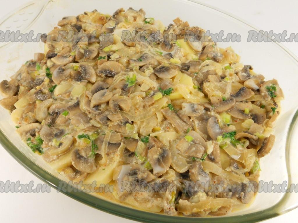 картофель с шампиньонами в духовке фото рецепт