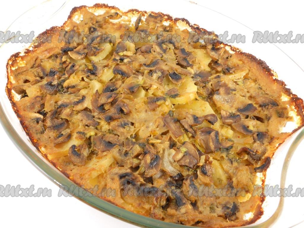 запеченный картофель с шампиньонами в духовке рецепт