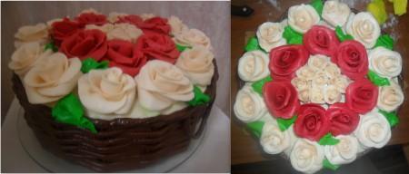 """Украшаем торт """"Корзина с розами"""" на Ваше усмотрение и фантазию."""