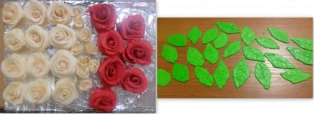 Также поступаем и с красными розами, и с листочками, только пищевой краситель добавляем сразу же перед замесом мастики. Листочки вырезаем специальными вырубками или ножом. Прожилки делаем зубочисткой.