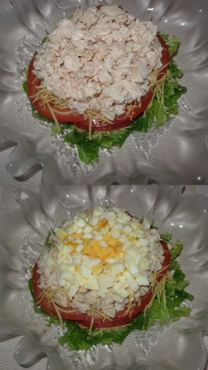 3 слой - курицу нарезать маленьким кубиком поперек волокон, посыпать сыром. 4 слой - яйца нарезать маленьким кубиком.