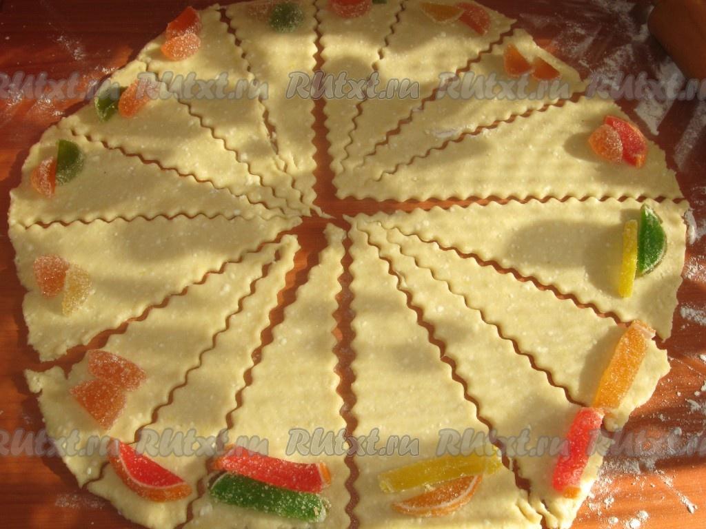 печенье творожное с мармеладом
