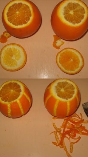 """Апельсины хорошо вымыть, обсушить. Из двух апельсинов сделать """"формочки"""" - срезать верхушку апельсина и немного снизу, чтобы апельсин был устойчив. С помощью специального ножа сделать продольные полосы по корке апельсина."""