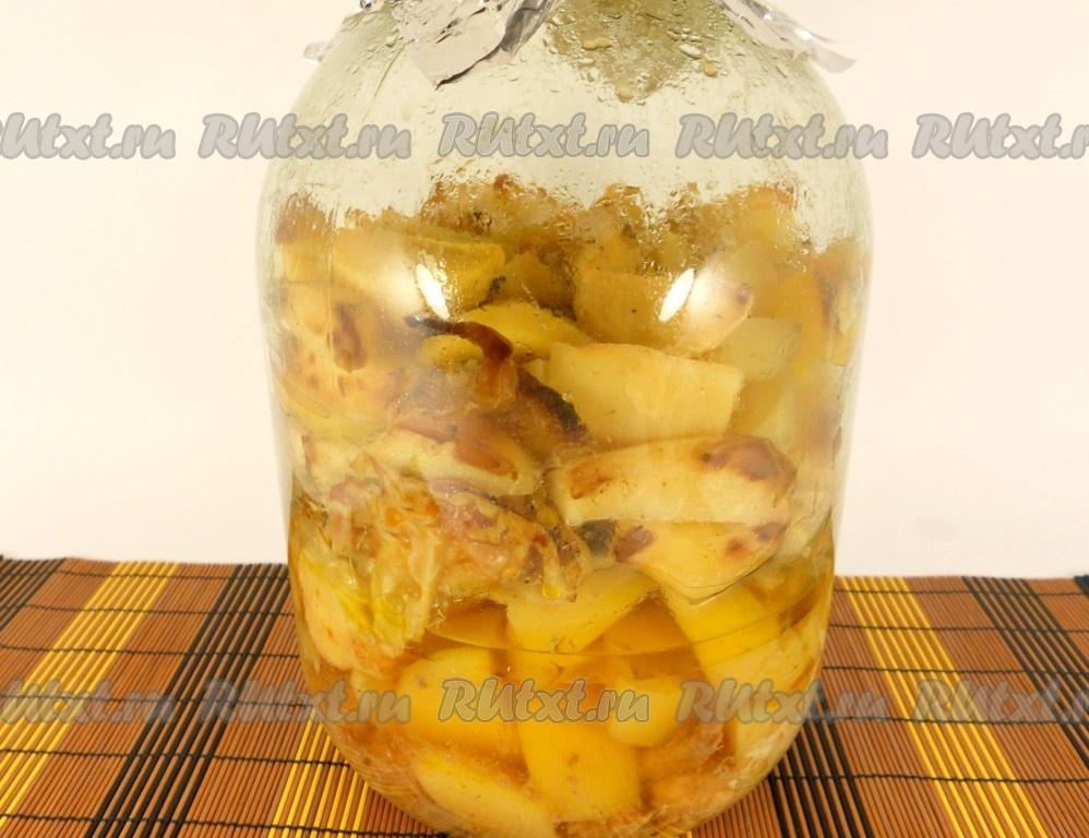 мясо в банке с картошкой в духовке рецепт с фото