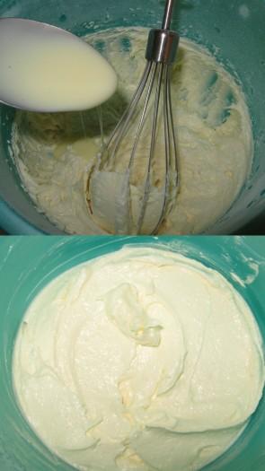 Затем, не переставая взбивать, добавить сгущенку, буквально, по 1 столовой ложке, тщательно взбивая после каждой. Крем взбить до однородной, эластичной консистенции.