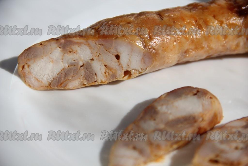 Домашняя колбаса из курицы в кишках