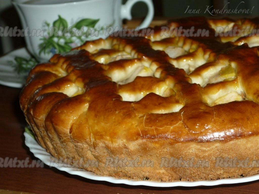 Пирог на дрожжах с яблоками рецепт с пошагово в духовке