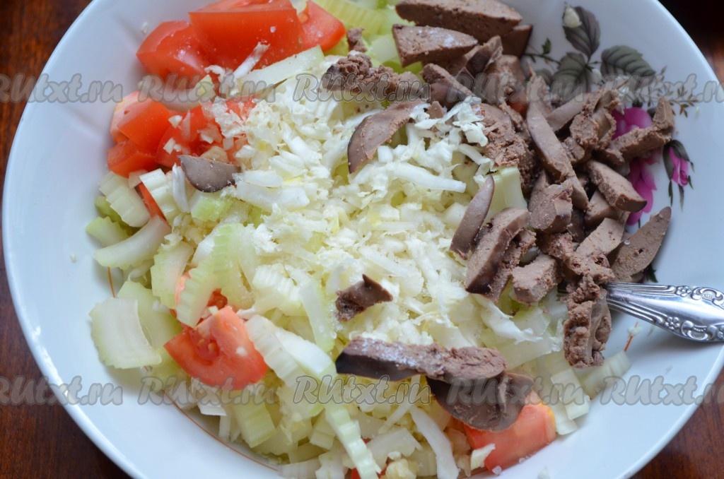 рецепт салат с печенью капустой