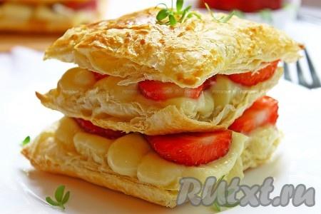 Всё, очень вкусные пирожные {amp}quot;Мильфей{amp}quot; готовы - их можно сразу подавать!