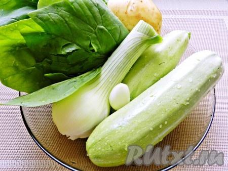 Овощи помыть и очистить.