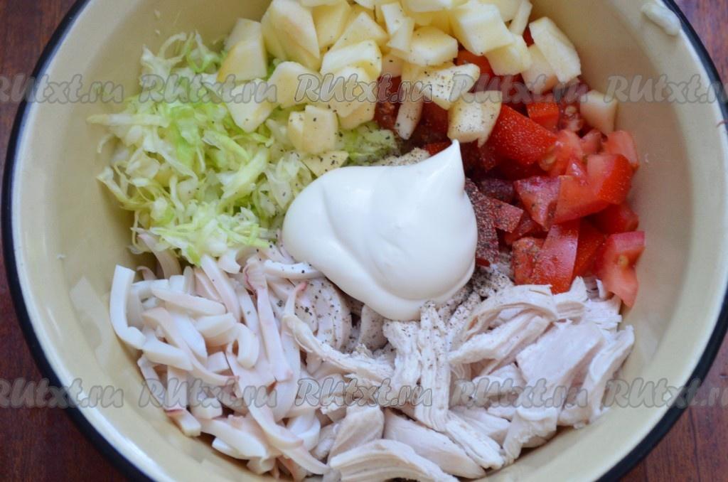 Очень вкусный салат с кальмарами