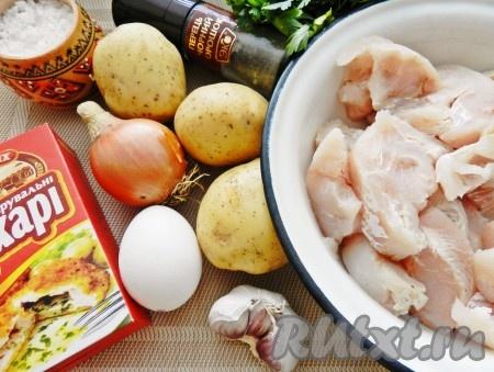 Ингредиенты для приготовления рыбных котлет с картофелем