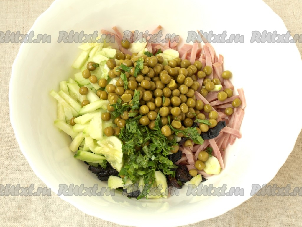 как приготовить салат с перца ветчины чернослива
