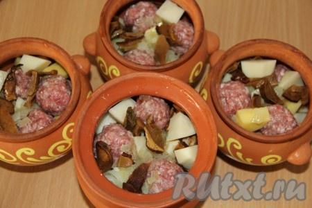 Из фарша сформировать фрикадельки. Положить в горшочки слоями: фрикадельки, нарезанный очищенный картофель, обжаренный лук и грибы.