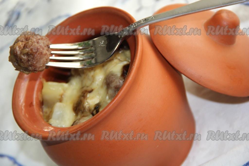 картошкой с горшочках фарш фото с в рецепты
