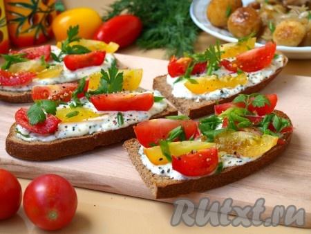 Рецепт тостов с помидорами
