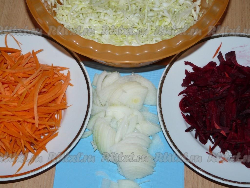 Салат капуста морковь горошек лук