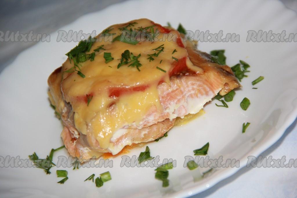 Горбуша с помидором и сыром в духовке рецепт пошагово