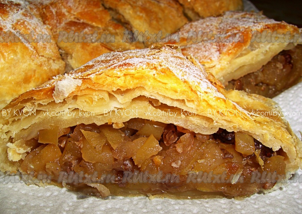 Рецепт приготовления штруделя с яблоками пошагово