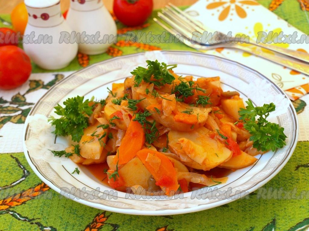 рецепт овощного рагу с картошкой и капустой и мясом