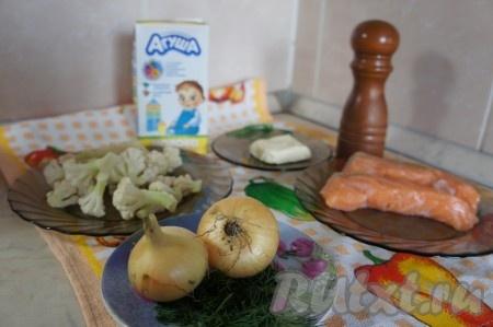 Ингредиенты для приготовления супа из сёмги с плавленным сыром