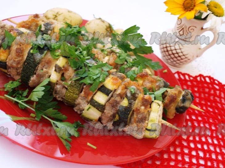 кабачок с фаршем в духовке в фольге рецепт с фото