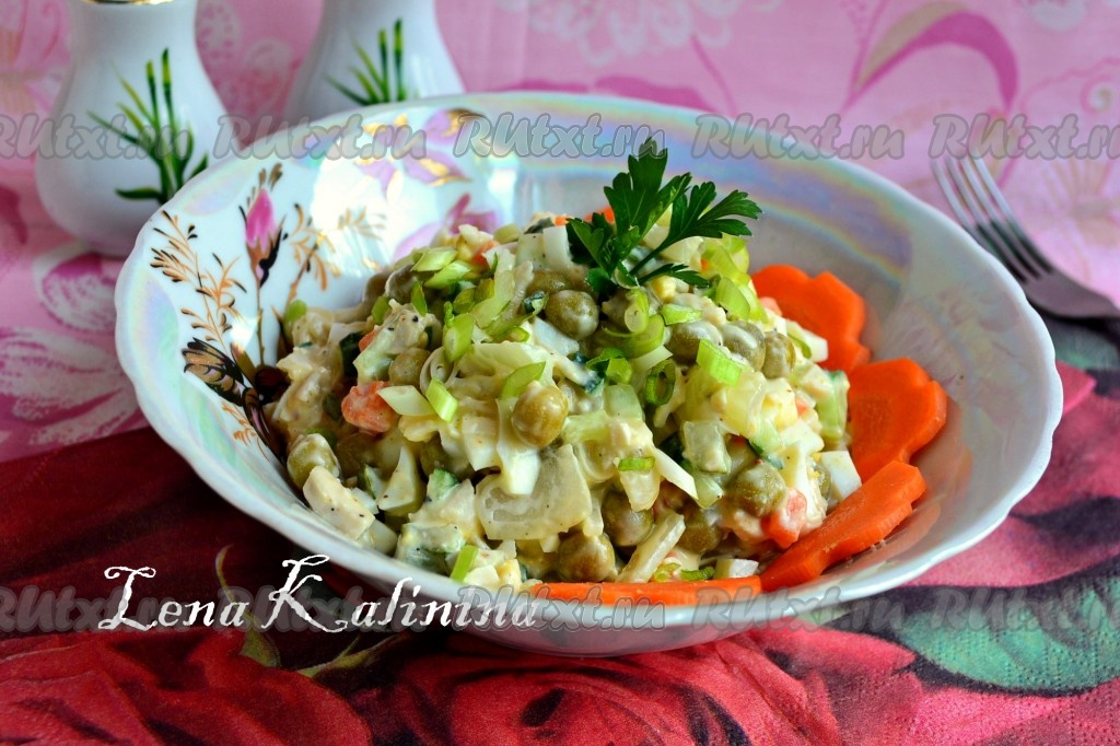 очень простой салат с горошком рецепт