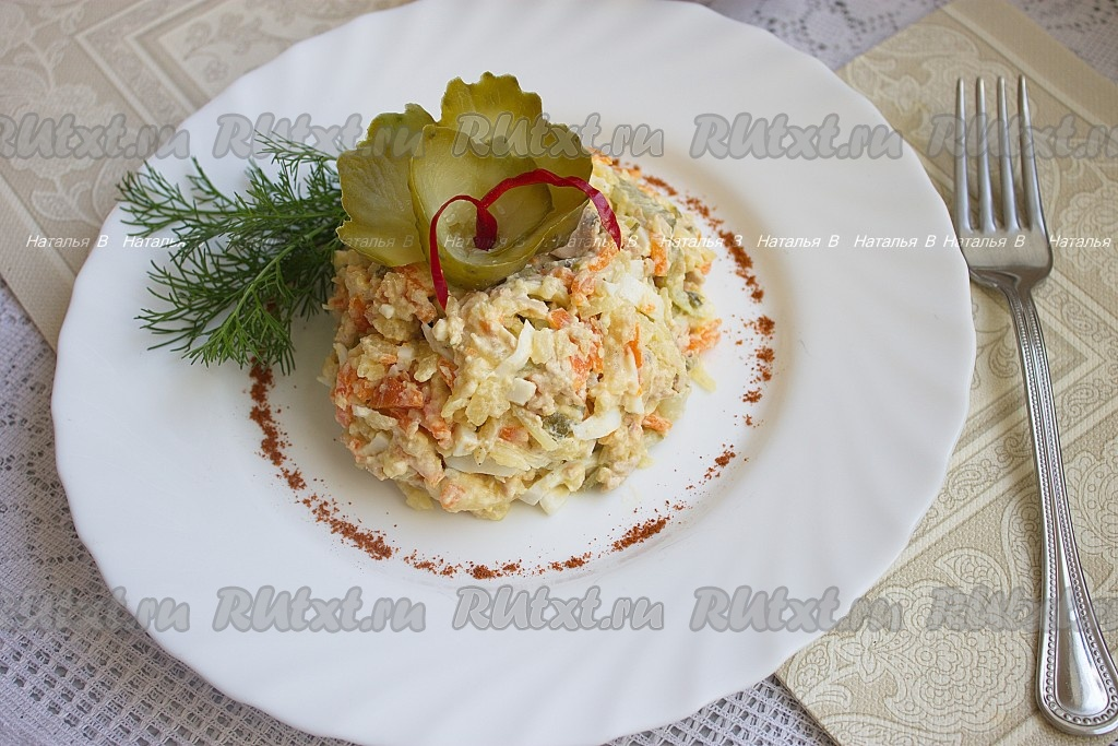 рецепт приготовления салата с рыбой
