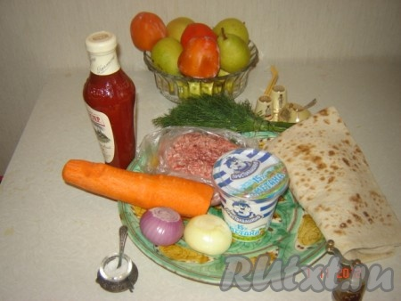 Ингредиенты для приготовления ленивых пельменей в лаваше