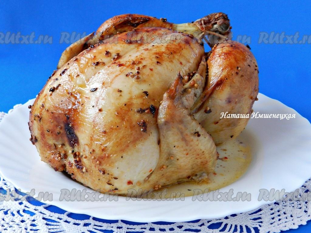 рецепт запеченной курицы целиком в духовке с хрустящей