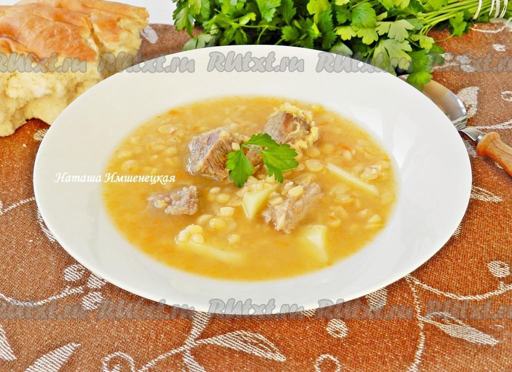 рецепт горохового супа пюре с мясом