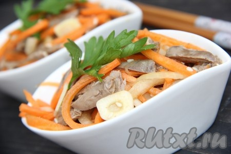 Рецепт салата из куриных сердечек по корейски