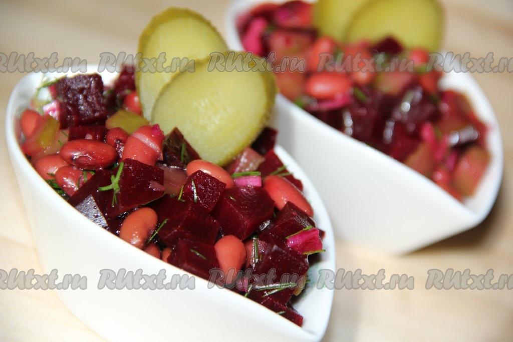 Салат свекла фасоль огурцы