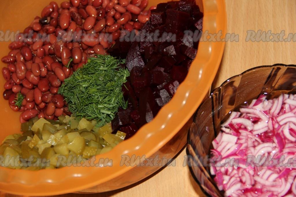 рецепт салат из фасоли соленых огурцов