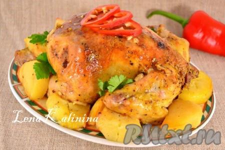 Запекать цыпленка с картофелем в предварительно разогретой до 180-190 градусов духовке 30 минут, после чего фольгу убрать и запекать блюдо еще 30 минут при той же температуре. Необычайно вкусного и нежного цыпленка с картошкой, приготовленного в духовке, можно подать на стол с зеленью и овощами.