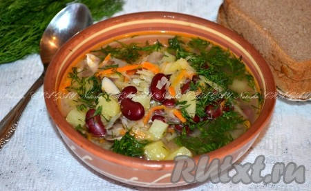 рецепт супа из фасоли консервированной с грибами