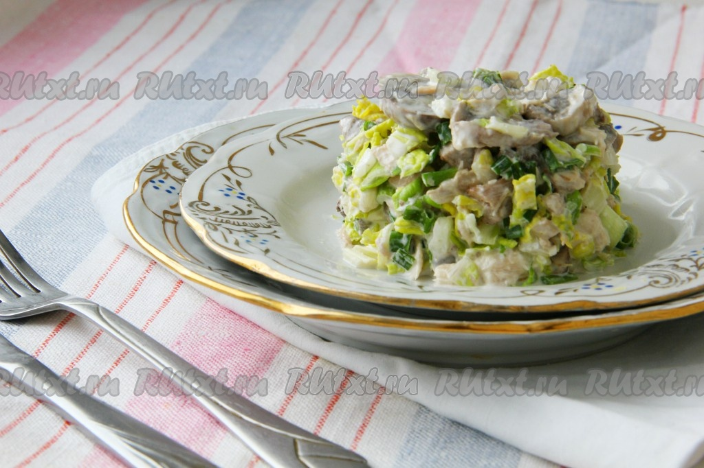 Салаты с куриным филе и грибами рецепт