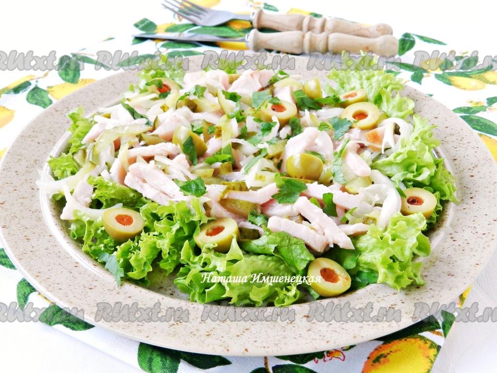 рецепт салата с мясом и с маринованными огурцами