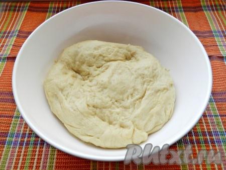 Смешать муку и дрожжи, постепенно соединить сухие и жидкие ингредиенты. Замесить мягкое тесто, накрыть полотенцем и убрать для подхода на 1 час в теплое место.