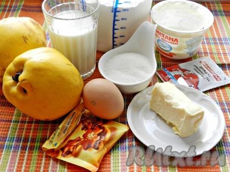 Ингредиенты для приготовления пирога с айвой