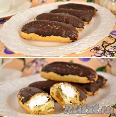 Шоколад растопить на водяной бане, смазать им (кисточкой) верх пирожных. Поместить готовые вкуснейшие заварные пирожные с белковым кремом минут на 10 в холодильник, чтобы застыл шоколад и можно подавать к столу! Радуйте своих близких!