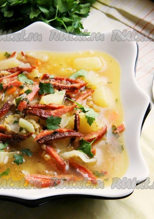 суп с галушками и колбасой рецепт с фото