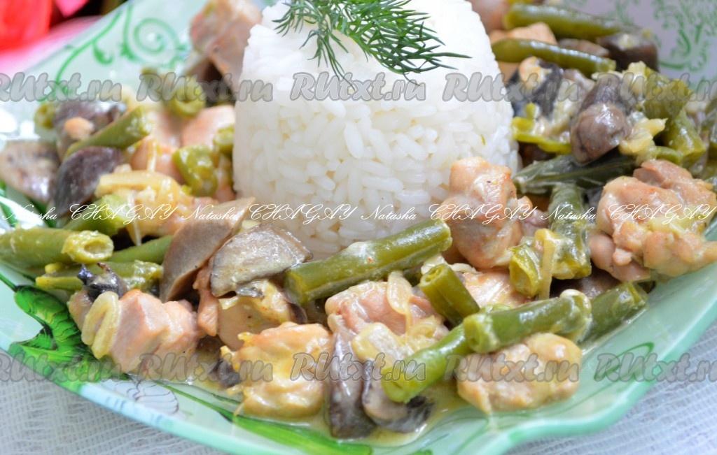 Салат рецепт с курицей и грибами с с фасолью