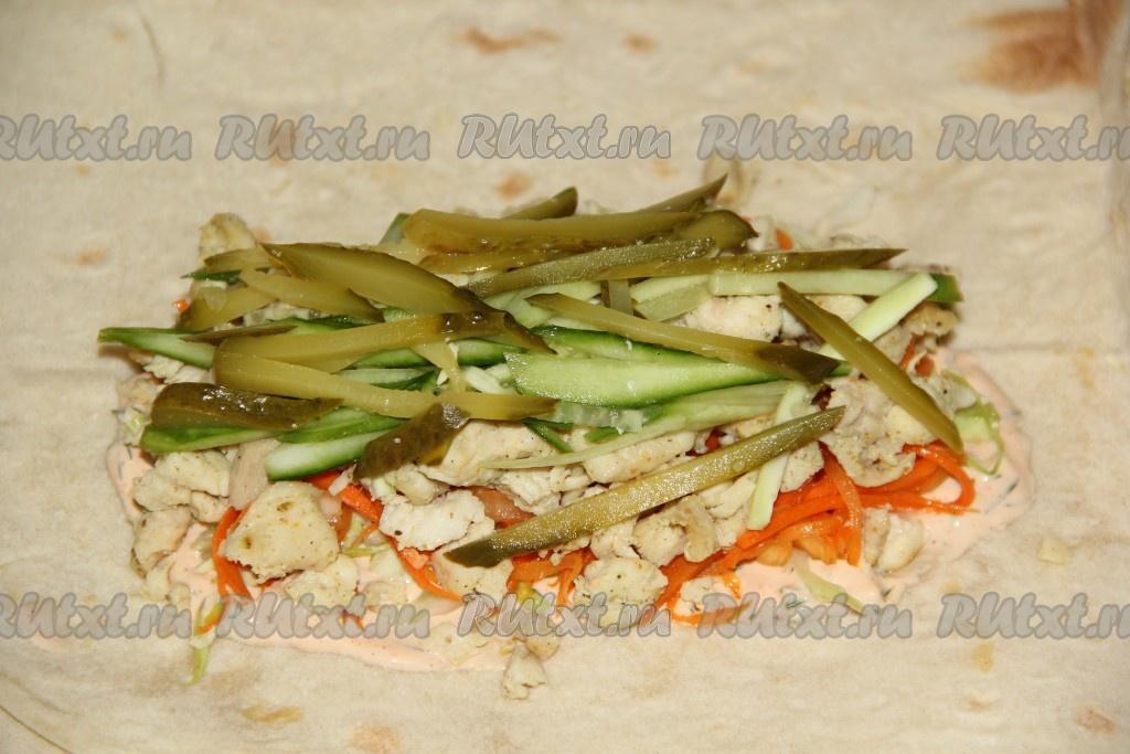 Шаурма с курицей и корейской морковкой в домашних условиях рецепт