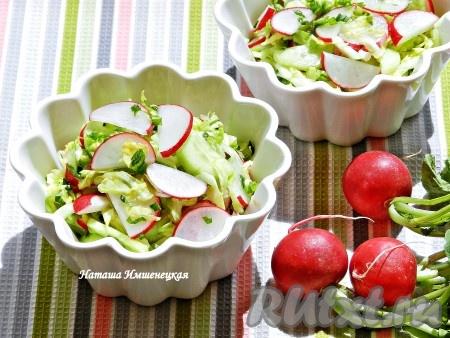 Вкусный, свежий и хрустящий салат с редиской и капустой готов.