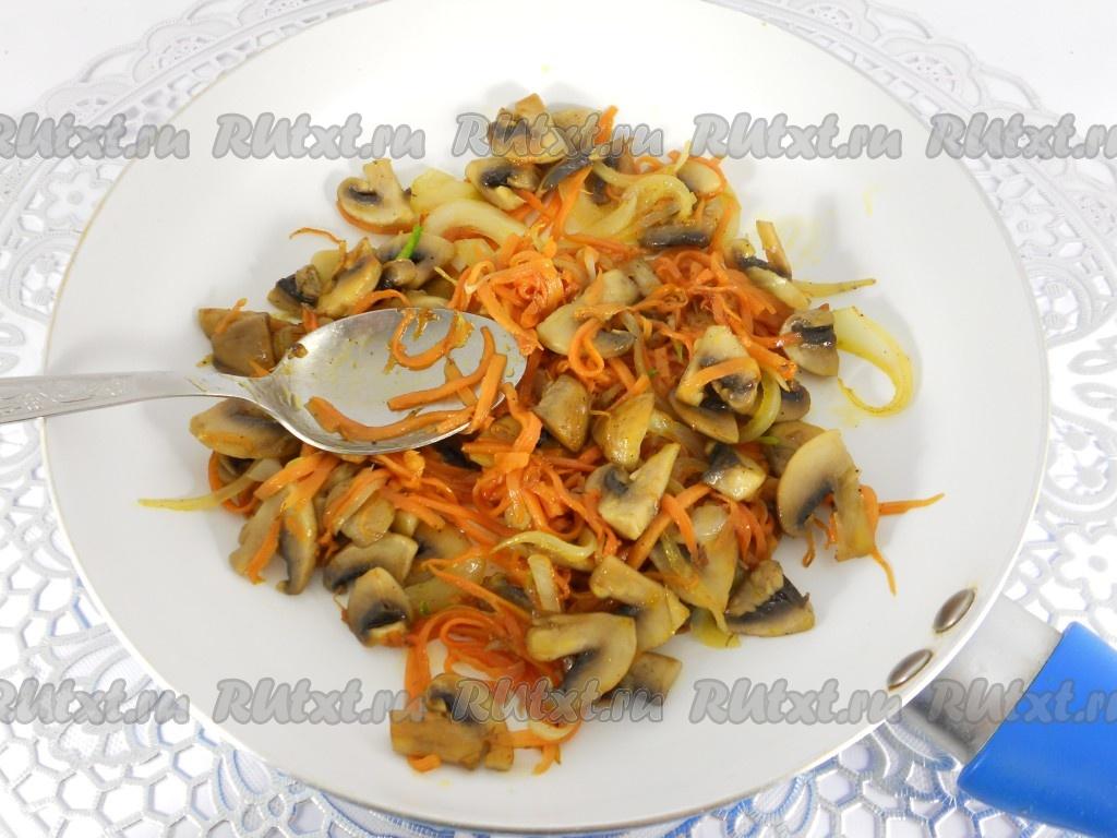 рецепт салата с шампиньонами и морковью