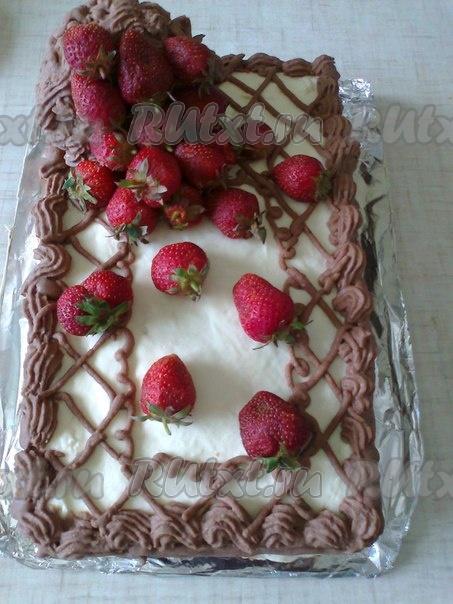 торт корзина с клубникой рецепт пошагово