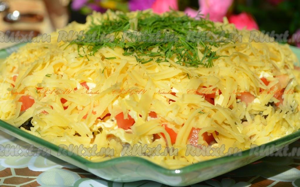 Салат с жареными шампиньонами вкусный