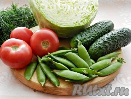 Ингредиенты для приготовления салата из свежей капусты с зеленым горошком