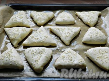 Противень застелить промасленной бумагой для выпечки. Выложить пирожки с мясом швом вниз на расстоянии друг от друга. Смазать пирожки кефиром, посыпать кунжутом и поставить в разогретую до 200 градусов духовку на 30-35 минут.